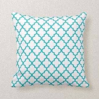 Turquoise Lattice Pattern Pillow
