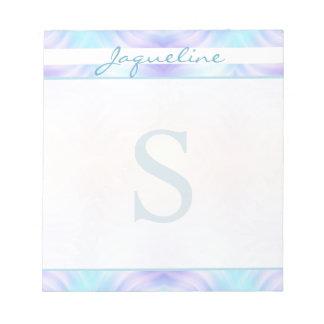 Turquoise Lavender Waves Monogram Notepad