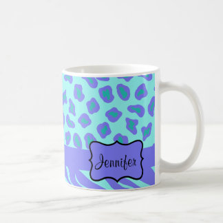 Turquoise & Lavender Zebra & Cheetah Customized Coffee Mug