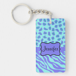 Turquoise & Lavender Zebra & Cheetah Customized Double-Sided Rectangular Acrylic Key Ring