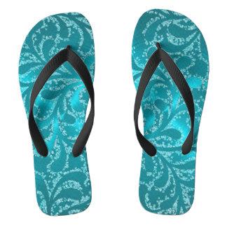 Turquoise Leaf Damask Thongs