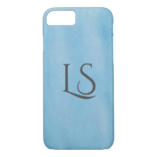 turquoise leather background with monogram iPhone 8/7 case
