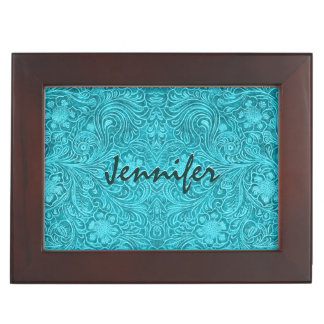 Turquoise Leather Look Embossed  Retro Flowers Memory Box