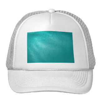 Turquoise Leather Look Mesh Hats