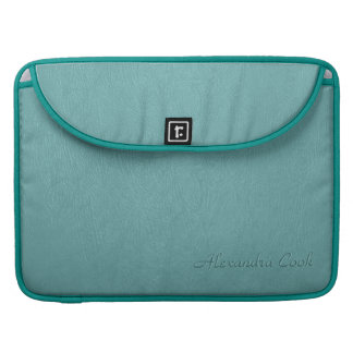 Turquoise Leather Pattern Texture-Custom Monogram Sleeve For MacBooks