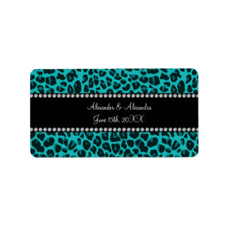 Turquoise leopard pattern wedding favors address label