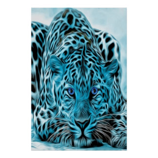 Turquoise Leopard With Blue Eyes Poster