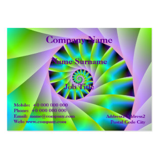 Turquoise Lilac and Green Spiral Business Card