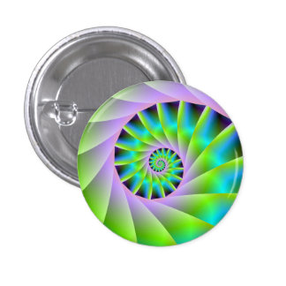 Turquoise Lilac and Green Spiral Button