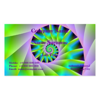 Turquoise Lilac and Green Spiral Card Pack Of Standard Business Cards