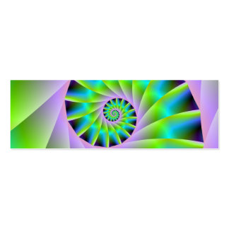 Turquoise Lilac and Green Spiral Card Double-Sided Mini Business Cards (Pack Of 20)