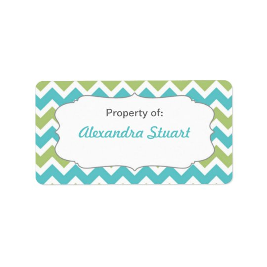 Turquoise & Lime Chevron Property of School ID Label