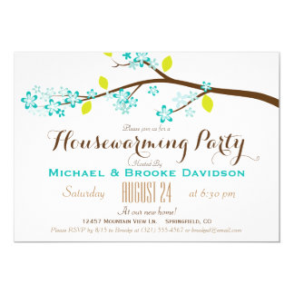 Turquoise, Lime Green, Brown Housewarming Party Card
