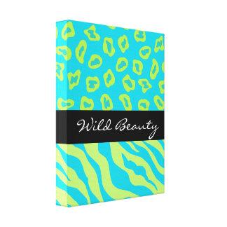 Turquoise & Lime Green Zebra & Cheetah Custom Stretched Canvas Prints