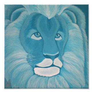 Turquoise Lion Print