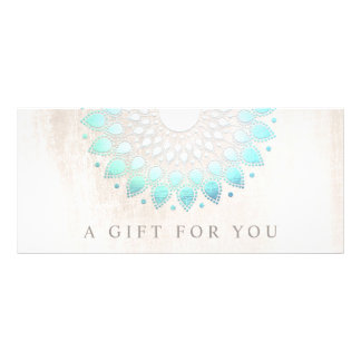 Turquoise Lotus Floral Spa Gift Certificate Custom Rack Cards