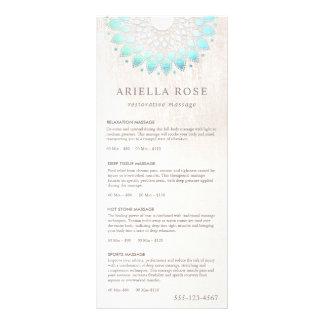Turquoise Lotus Massage Therapist Price List Menu Full Colour Rack Card