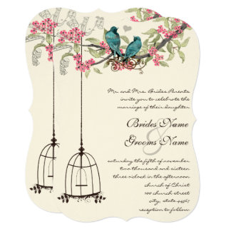 Turquoise Love Bird Pink Romantic Birdcage Card