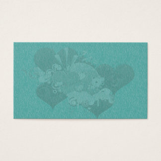 turquoise love heart business card