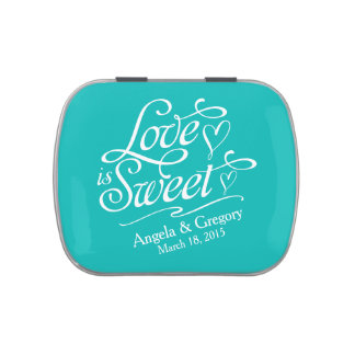 Turquoise Love is Sweet Wedding Candy Tin