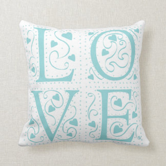 Turquoise Love Pillow Cushion