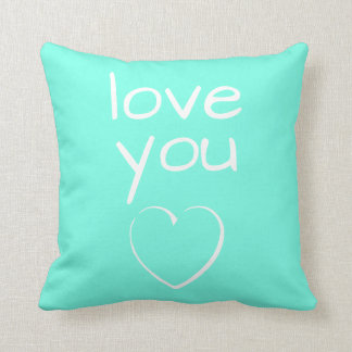 Turquoise Love You Heart Throw Pillow