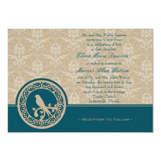 Turquoise Lovebird Damask Wedding Invitation