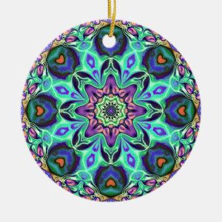 Turquoise Mandala Abstract Ceramic Ornament