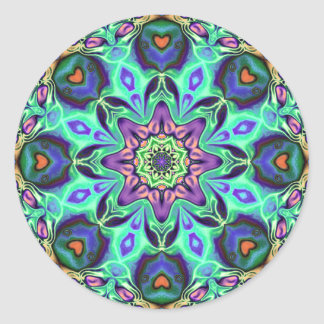 Turquoise Mandala Abstract Classic Round Sticker
