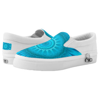 Turquoise Mandala  Custom Zipz Slip On Shoes