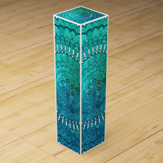 Turquoise Mandala Wine Gift Box