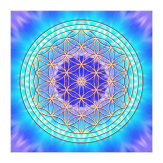 turquoise mandala with flower OF life Canvas Print