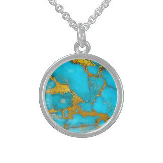 Turquoise Marble GOLD Glitter - ADD Initials Sterling Silver Necklace