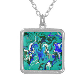 Turquoise marble texture silver plated necklace