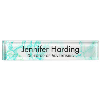 Turquoise Marbled Look Desk Nameplate