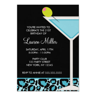 Turquoise Martini and Leopard Print Card