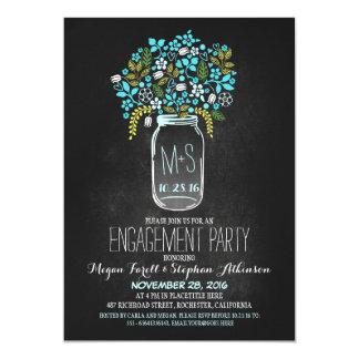 turquoise mason jar chalkboard engagement party 13 cm x 18 cm invitation card