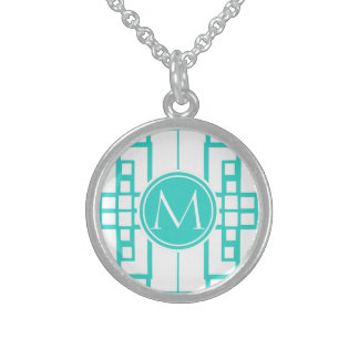 Turquoise Maze and Monogram Sterling Silver Necklace