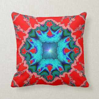 Turquoise Medallion on Red American MoJo Pillow Throw Cushion