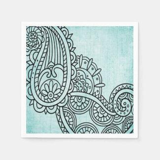 Turquoise Mehndi Motif Paper Napkins Paper Napkin