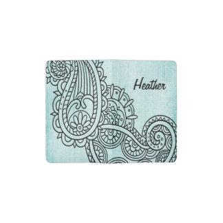 Turquoise Mehndi Motif Pocket Notebook