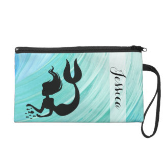 Turquoise Mermaid Silhouette Name Wristlet