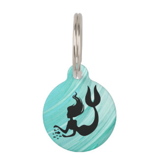 Turquoise Mermaid Silhouette Pet Tag