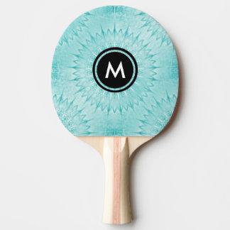 Turquoise Metallic Mandala Pattern Ping Pong Paddle