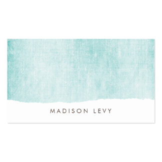 Turquoise Minimalist Distressed Torn  Cards Pack Of Standard Business Cards