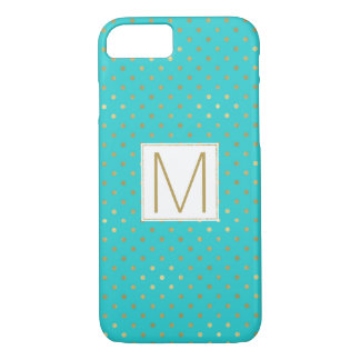 Turquoise Mint Gold Dots iPhone 8/7 Case