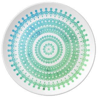 Turquoise Mint Green Boho Tribal Folk Gypsy Hippy Plate