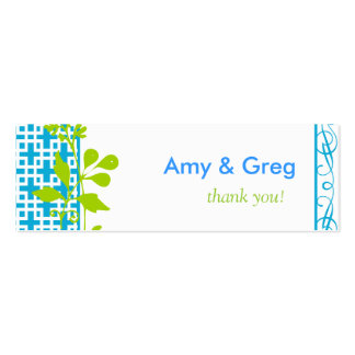 Turquoise Modern Botanical Gift Tags Pack Of Skinny Business Cards