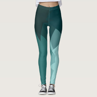 Turquoise Modern Geometric Pattern Leggings