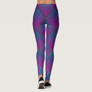 Turquoise Modern Mosaic Diamonds Animal Print Leggings